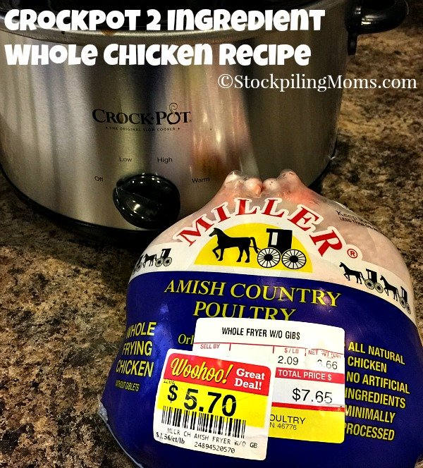 Crockpot 2 Ingredient Whole Chicken Recipe is so simple to make and perfect for Christmas Eve Dinner!