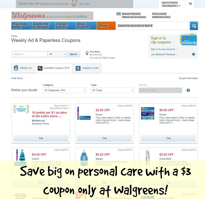 Save big on personal care with a $3 coupon only at Walgreens!