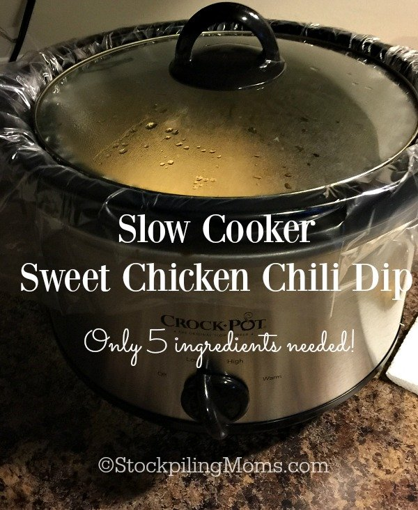 Slow Cooker Sweet Chicken Chili Dip recipe is the perfect appetizer for a Super Bowl party with only 5 ingredients needed! Be sure to try it!