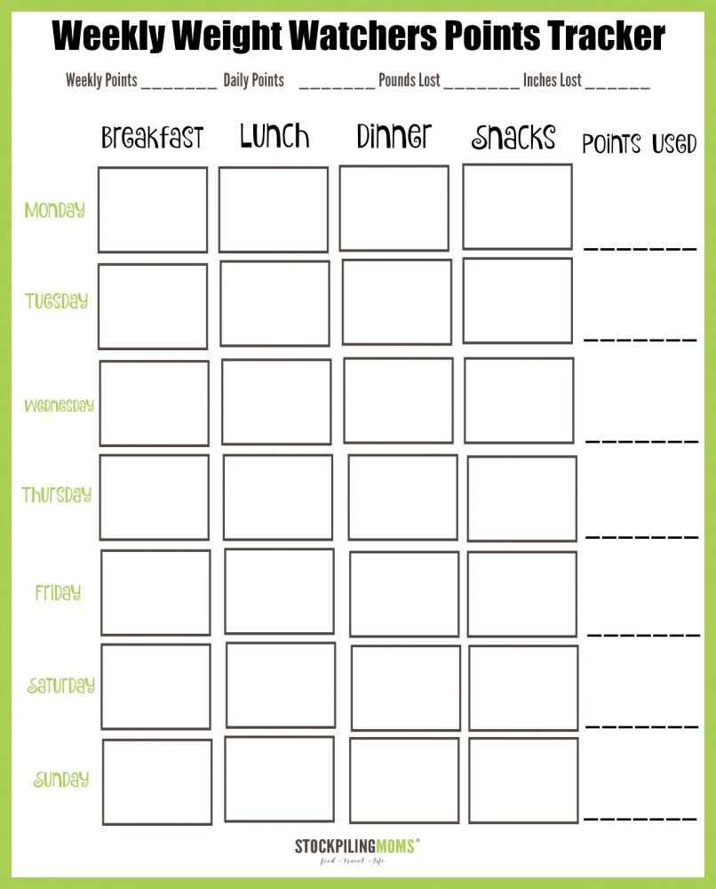 Free Printable Weight Watchers Food Tracker