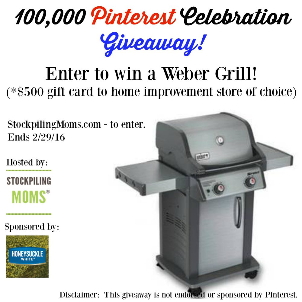100,000 Pinterest Giveaway - Gas Grill Giveaway - $500 Value!