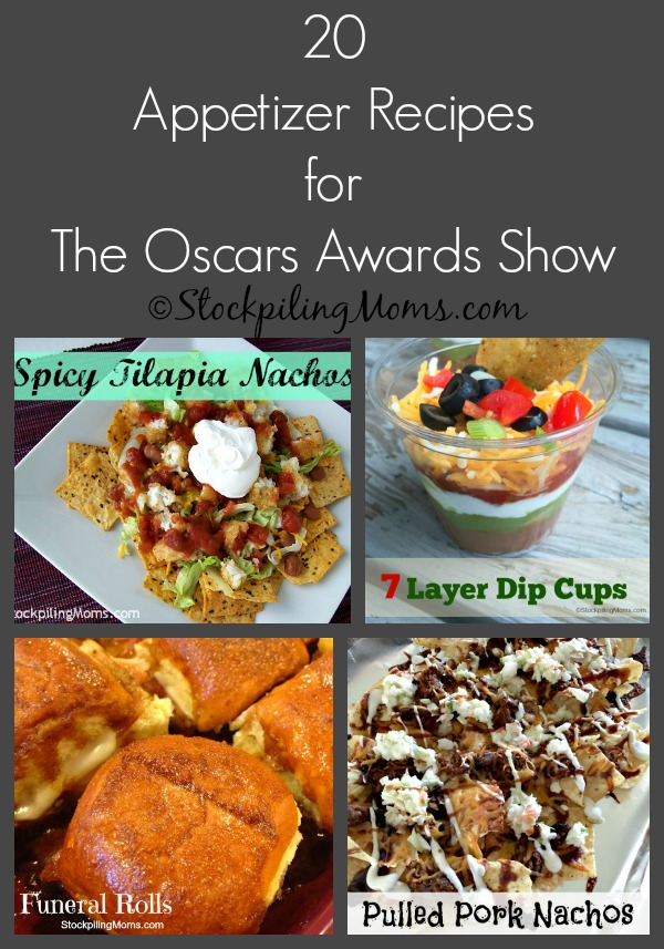 20 Appetizer Recipes for The Oscars Awards Show that will be great to munch on while watching!