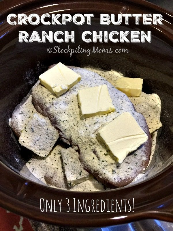 Only 3 ingredients needed for this Crockpot Butter Ranch Chicken recipe and it tastes amazing!