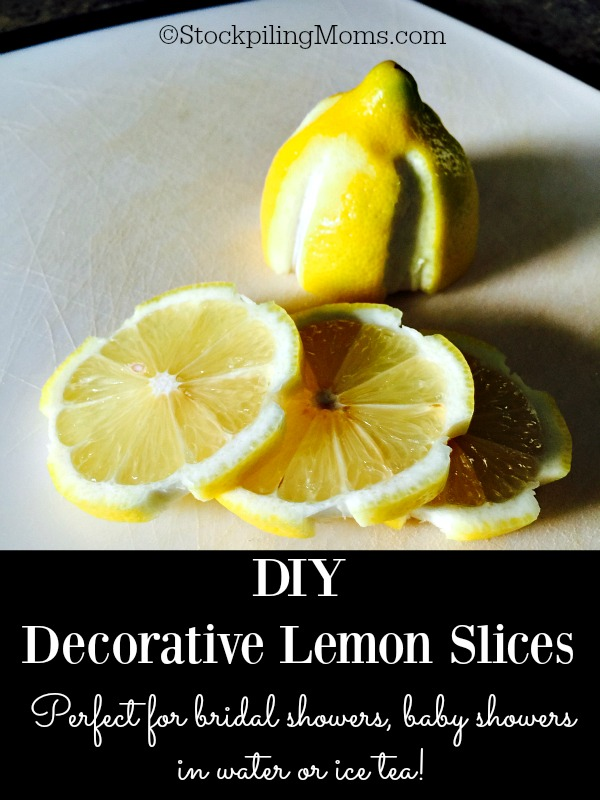 DIY Decorative Lemon Slices are perfect served in water or ice tea for a bridal shower, baby shower or even on Easter!
