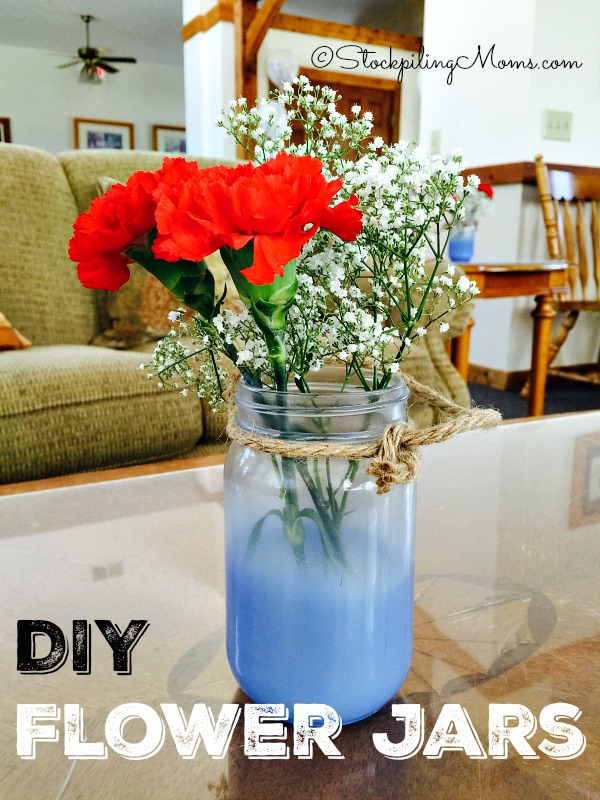 These DIY Flower Jars are a perfect idea  for a bridal shower, baby shower or even a birthday party!