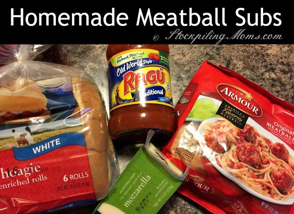 Homemade Meatball Subs recipe that you can prepare in less than 30 minutes with only 4 ingredients!