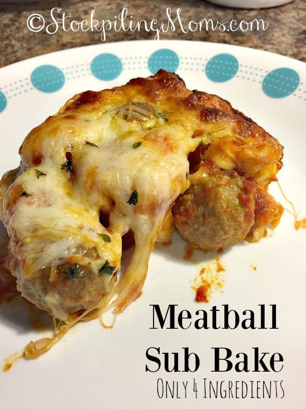 Meatball Sub Bake recipe has only 4 ingredients and is ready in 30 minutes!
