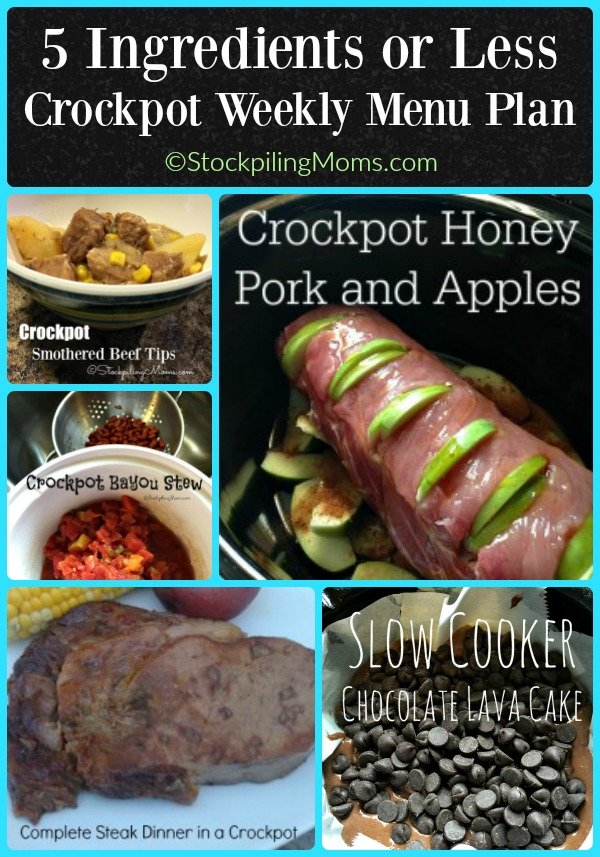 5 Ingredients or Less Crockpot Weekly Menu Plan