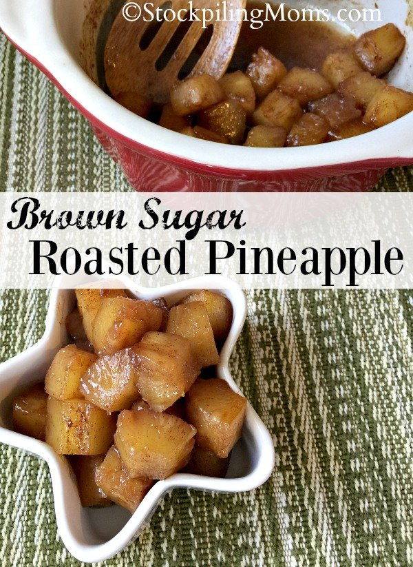 Brown Sugar Roasted Pineapple is a delicious gluten free recipe with only 4 ingredients!