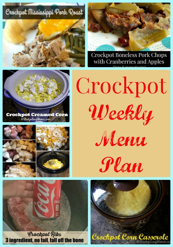 Crockpot Weekly Menu Plan to help save you time and money this week on your dinners!