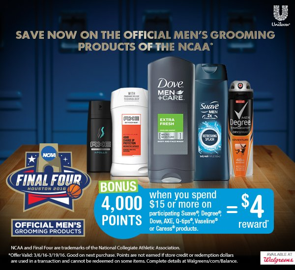 Save on the official men's grooming products of the NCAA at Walgreens
