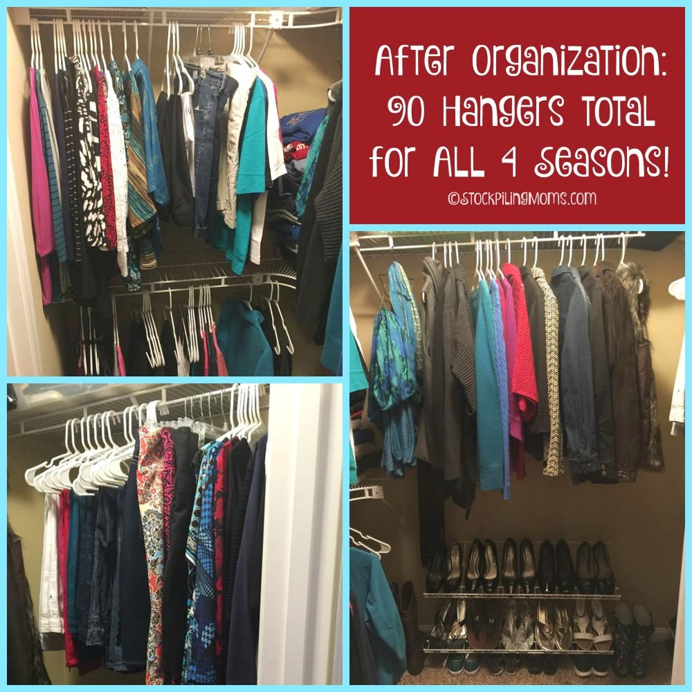 After Organization - 90 Hangers Total for ALL 4 Seasons!