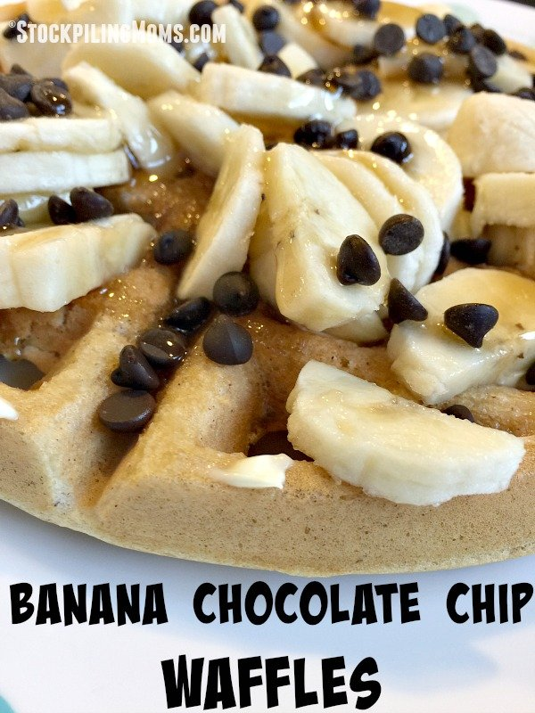 Banana Chocolate Chip Waffles are the best breakfast recipe EVER! You can also make for