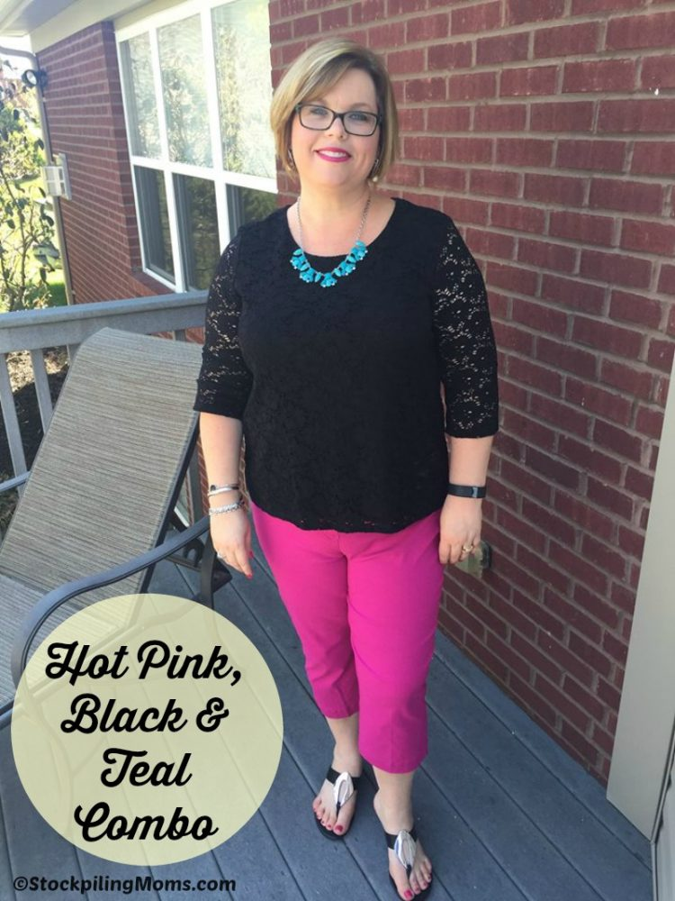 Hot Pink, Black and Teal Outfit
