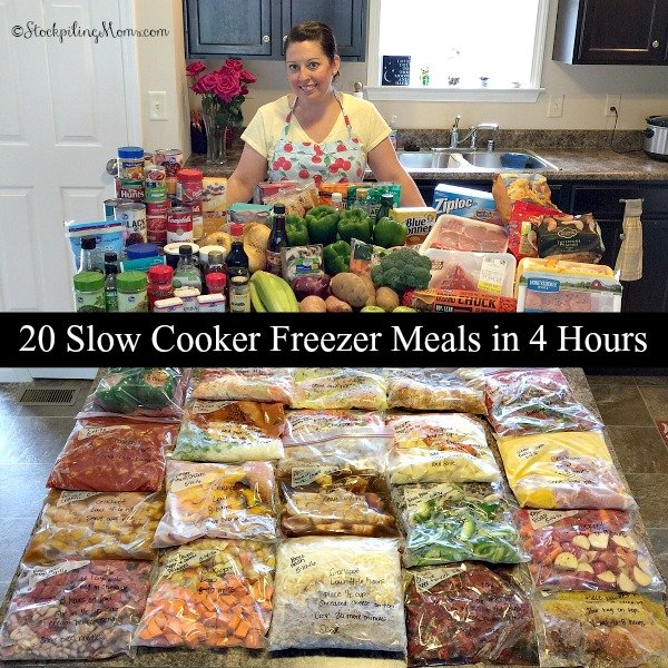 Make 20 Slow Cooker Freezer Meals in 4 hours with this meal plan!