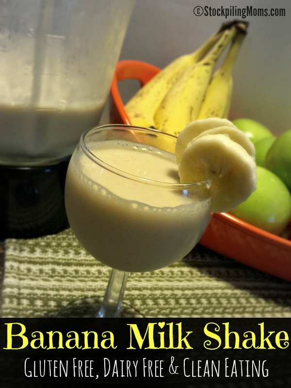 This Banana Milk Shake recipe is gluten free, dairy free and a clean eating tasty beverage!