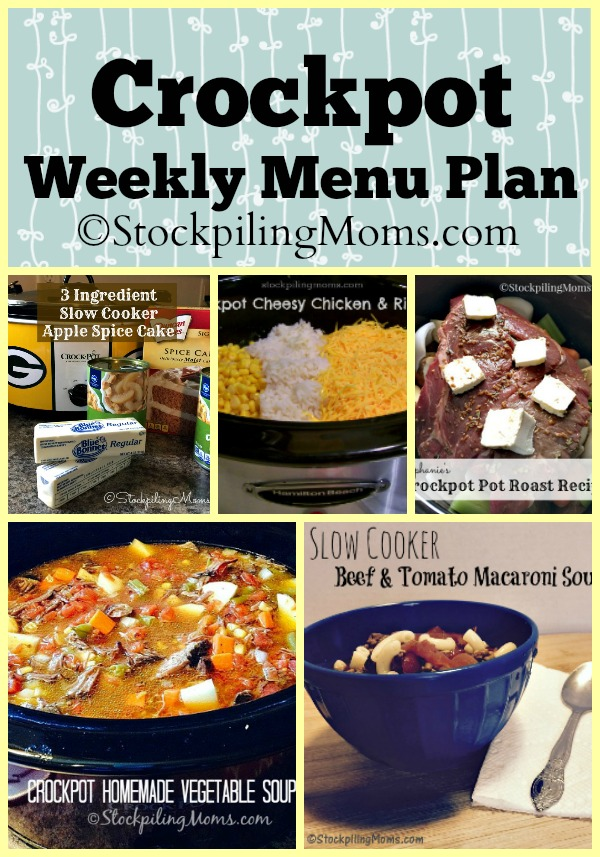 Here is our Crockpot Weekly Menu Plan to help organize your dinners this week and save money at the store!
