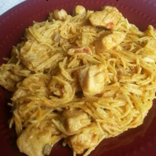 This Healthy Chicken Spaghetti recipe is a great Crockpot chicken dinner or easy freezer meal that everyone will love!