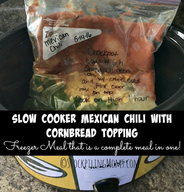 Slow Cooker Mexican Chili with Cornbread Topping is a great complete freezer meal!