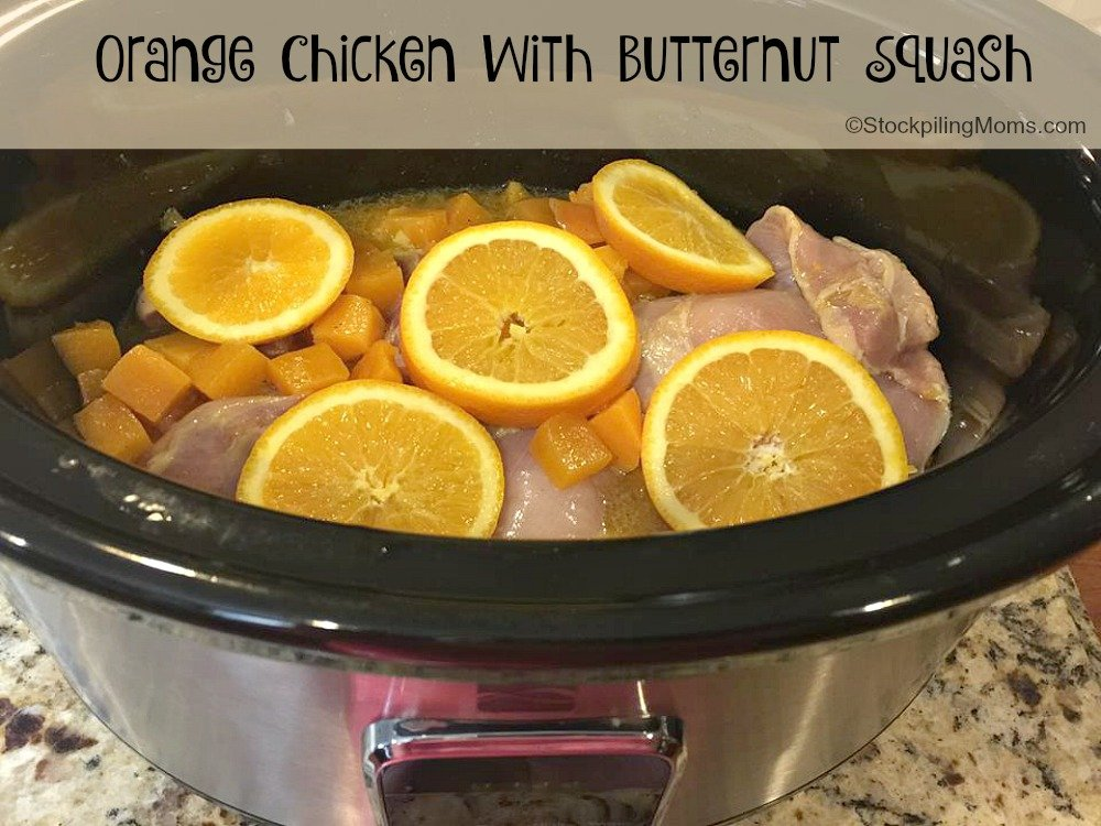 Slow Cooker Orange Chicken with Butternut Squash is a light and fresh freezer meal that the whole family will enjoy.