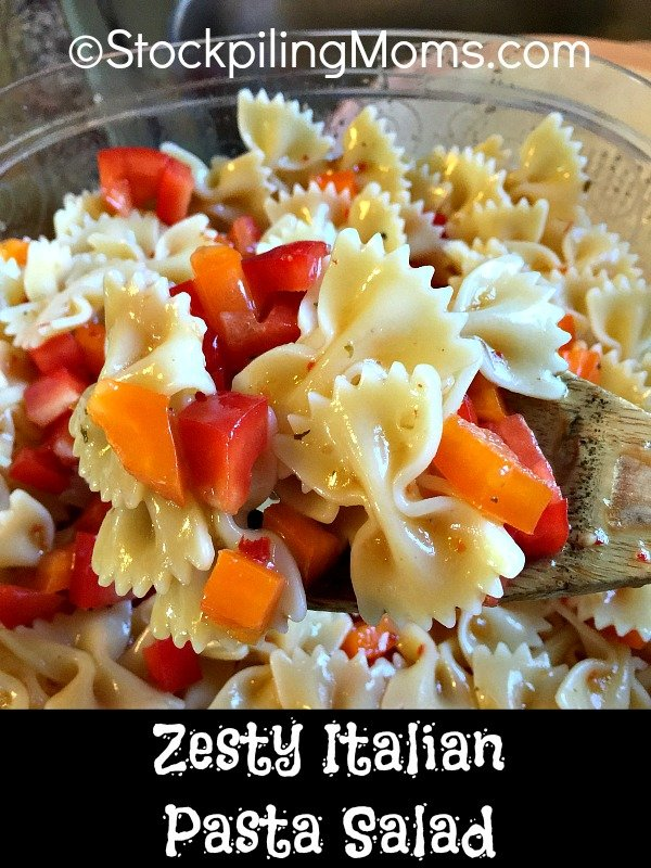 Zesty Italian Pasta Salad recipe is so easy to make with only 4 ingredients!