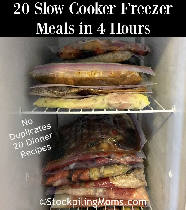 20 Slow Cooker Freezer Meals in 4 Hours, How to make 20 Slow Cooker Freezer Meals in 4 Hours, Freezer Cooking, Slow Cooker, Recipe, Crockpot! No recipe is duplicated so there is truly twenty meals.