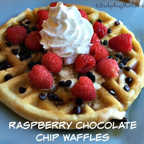 Raspberry Chocolate Chip Waffles is a delicious breakfast or brinner recipe!