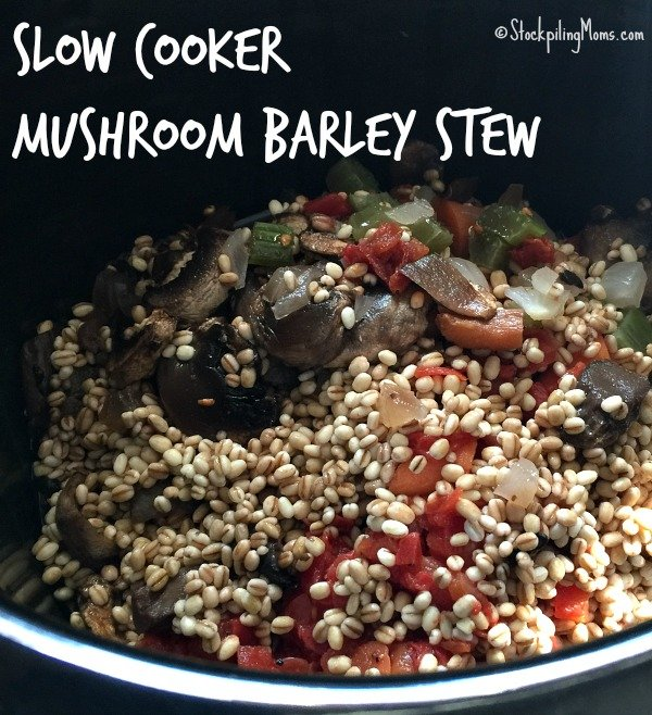 Slow Cooker Mushroom Barley Stew is a tasty vegetarian crockpot meal recipe!