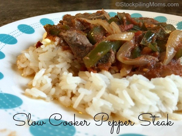 Slow Cooker Pepper Steak is a tasty crockpot freezer meal that is perfect for summer time recipe!