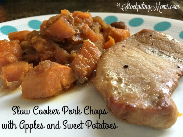 Slow Cooker Pork Chops with Apples and Sweet Potatoes is a great summer time freezer meal!