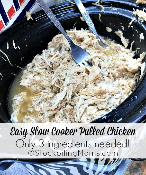 Easy Slow Cooker Pulled Chicken recipe that tastes delicious with only 3 ingredients!