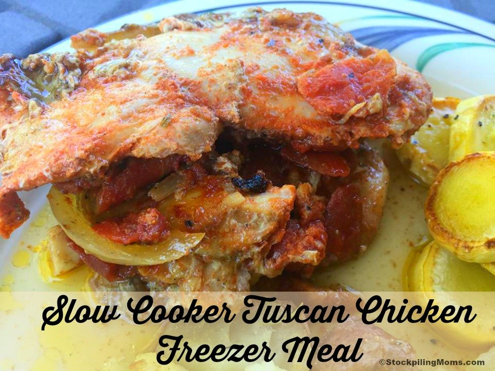 Slow Cooker Tuscan Chicken Freezer Meal is a delicious hearty meal that the family will enjoy.