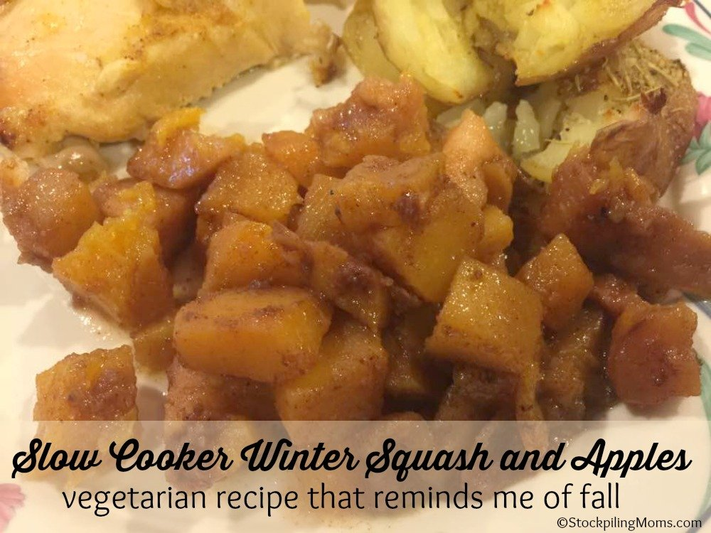Slow Cooker Winter Squash and Apples - A Vegetarian Recipe That Reminds Me Of Fall!
