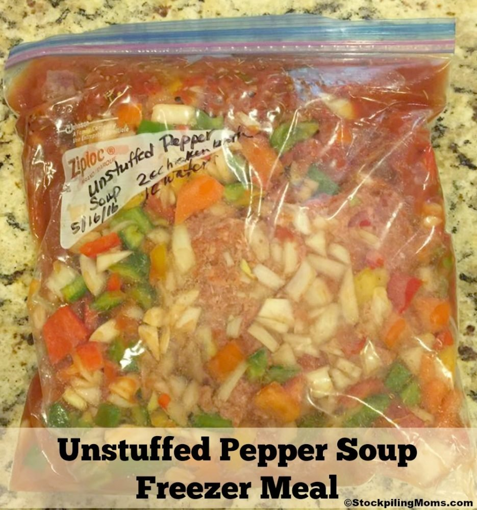 Unstuffed Pepper Soup Freezer Meal - Freezer Meal