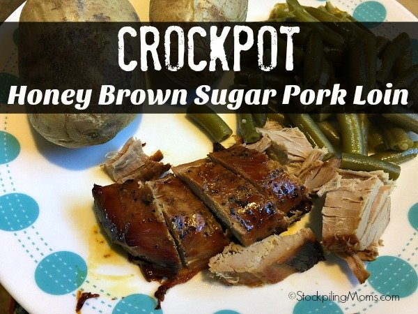 Crockpot Honey Brown Sugar Pork Loin recipe is so good and you only need 3 ingredients!