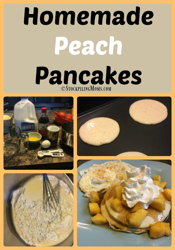 Homemade Peach Pancakes is a delicious summer time breakfast recipe!