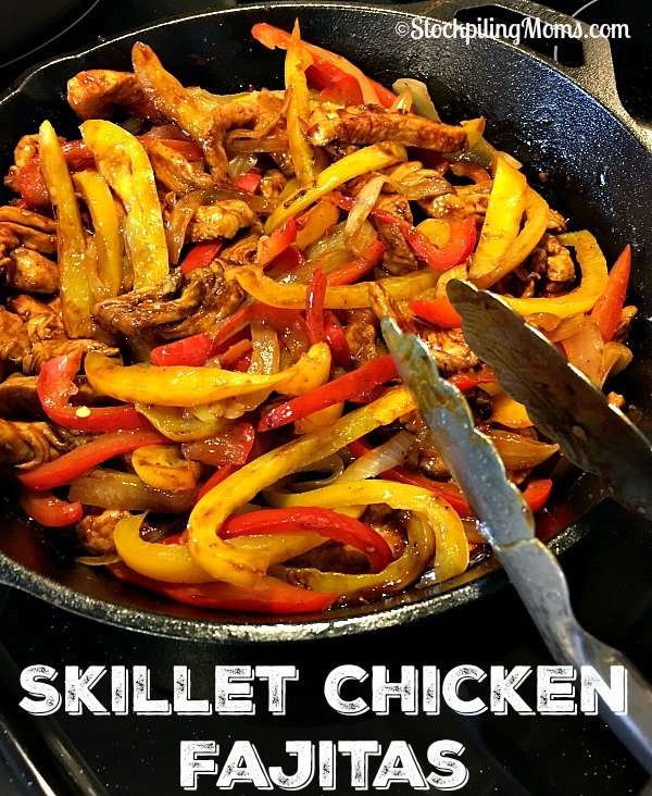 Skillet Chicken Fajitas recipe is a delicious 30 minute dinner meal idea!