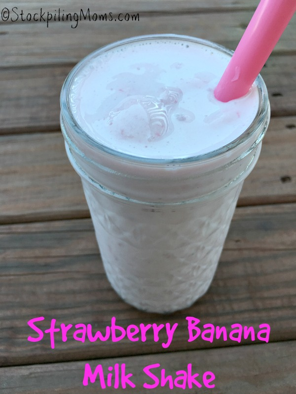 Strawberry Banana Milk Shake is a great after school treat with only 4 ingredients!