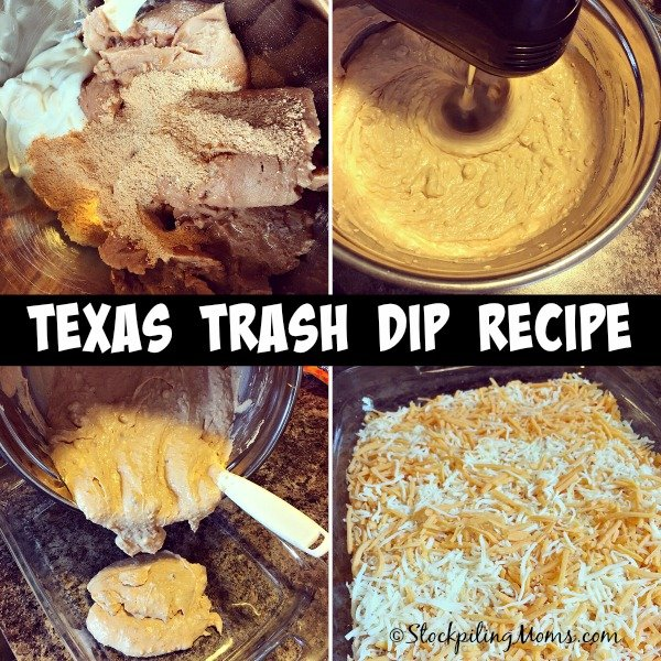 Texas Trash Dip Recipe is the yummiest appetizer with only 5 ingredients!