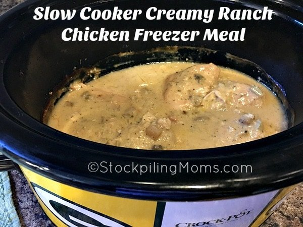 Slow Cooker Creamy Ranch Chicken Freezer Meal is super easy to prep with only 4 ingredients!