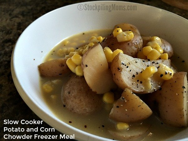 Slow Cooker Potato and Corn Chowder Freezer Meal is delicious on a cold, rainy night!