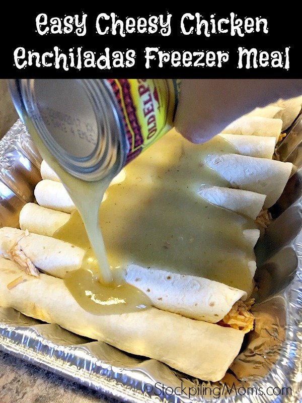 Easy Cheesy Chicken Enchiladas Freezer Meal is so yummy good! The whole family will love it!