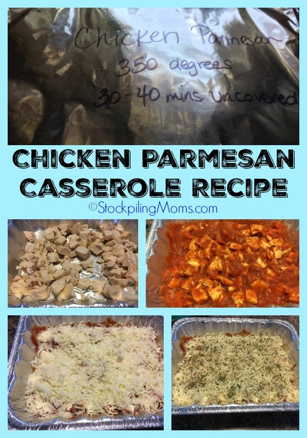 Chicken Parmesan Casserole Recipe is an easy oven ready freezer meal!