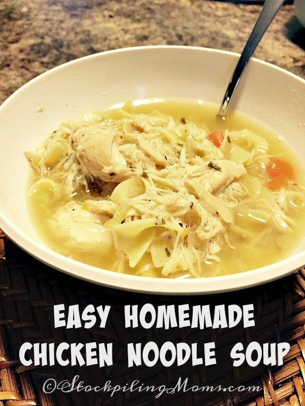 Easy Homemade Chicken Noodle Soup is a family favorite recipe in our home! Only takes 30 minutes to make!