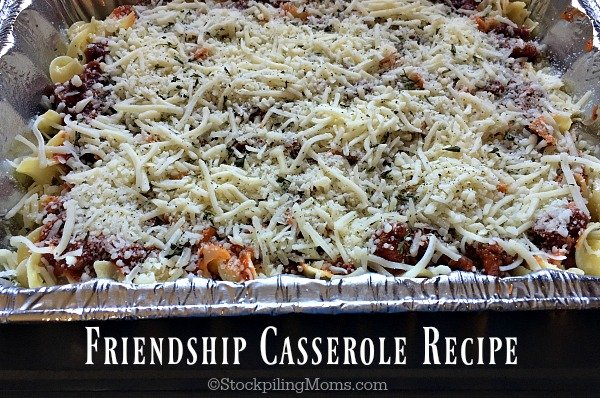 Friendship Casserole Recipe is a great oven ready freezer meal! You can make it for your family but it is also great to make for new moms, those going through a hard time or just to brighten someone's day.