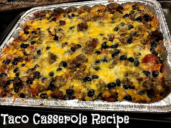 Taco Casserole Recipe is the BEST freezer meal that is oven ready! Straight from freezer to oven to dinner table for your family!