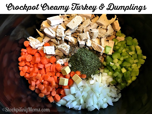 Crockpot Creamy Turkey & Dumplings recipe is a great way to use leftover turkey from Thanksgiving!