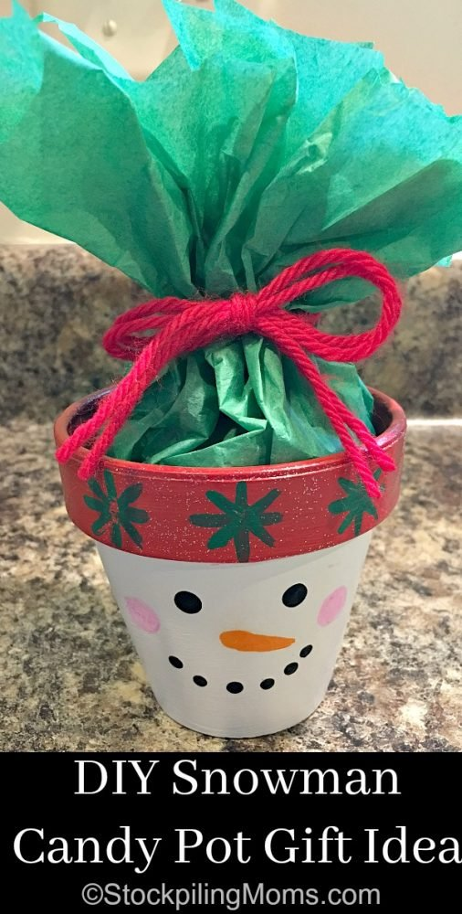 DIY Snowman Candy Pot Gift Idea that is super easy to make for a Christmas gift!