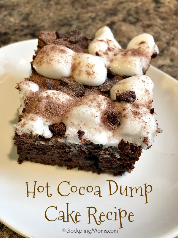 Hot Cocoa Dump Cake Recipe is the easiest dessert recipe for the Christmas season!