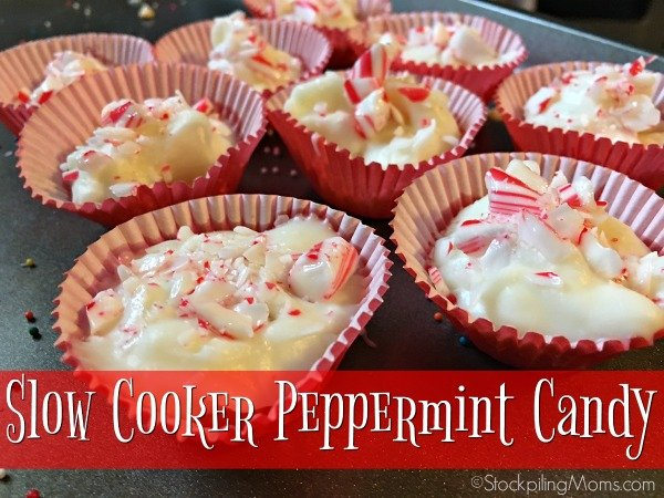 Slow Cooker Peppermint Candy is the easiest Christmas recipe with only 3 ingredients in your crockpot!